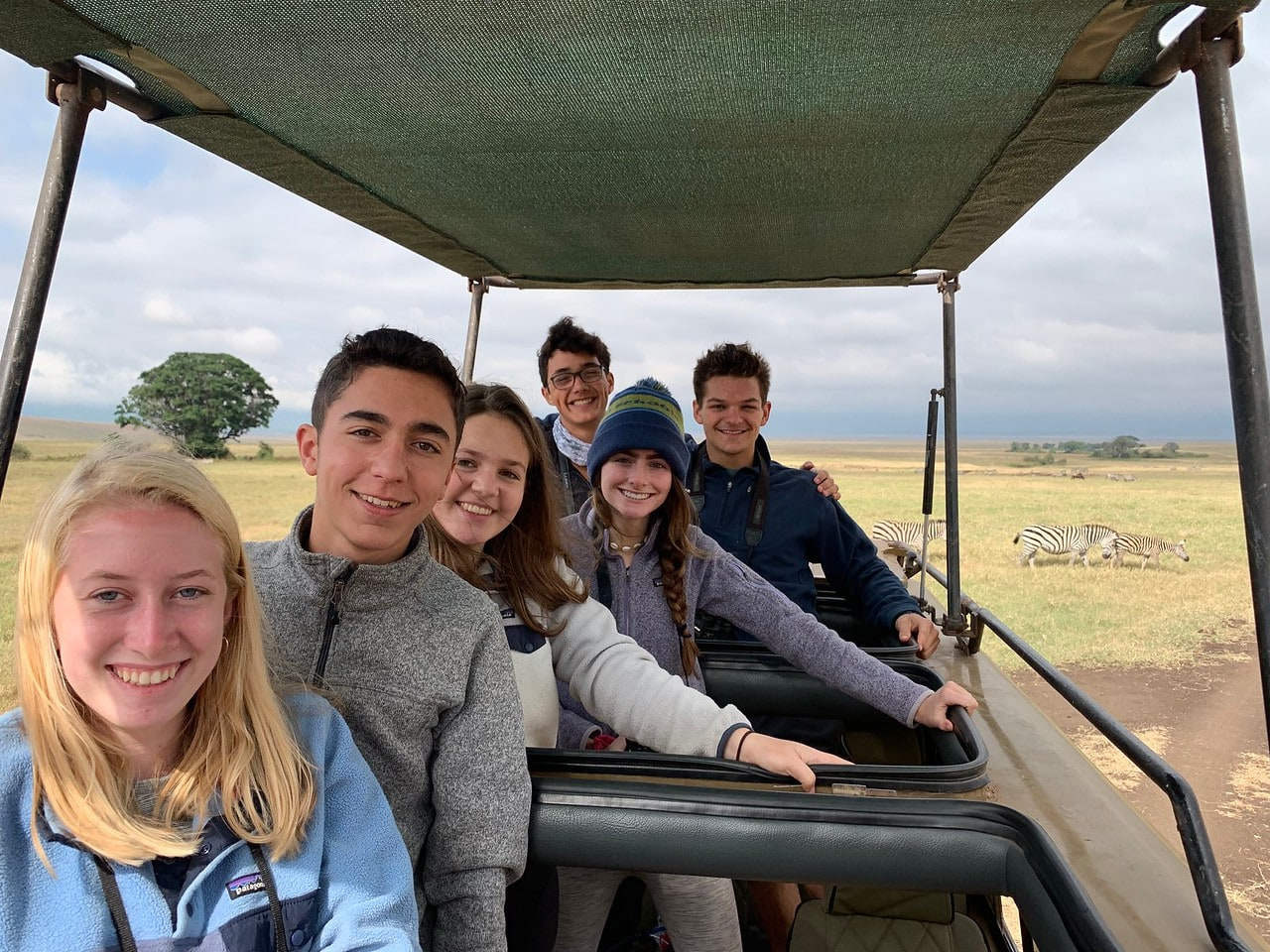 Campers take a ride through the Serengeti this summer while on a field studies program in Tanzania