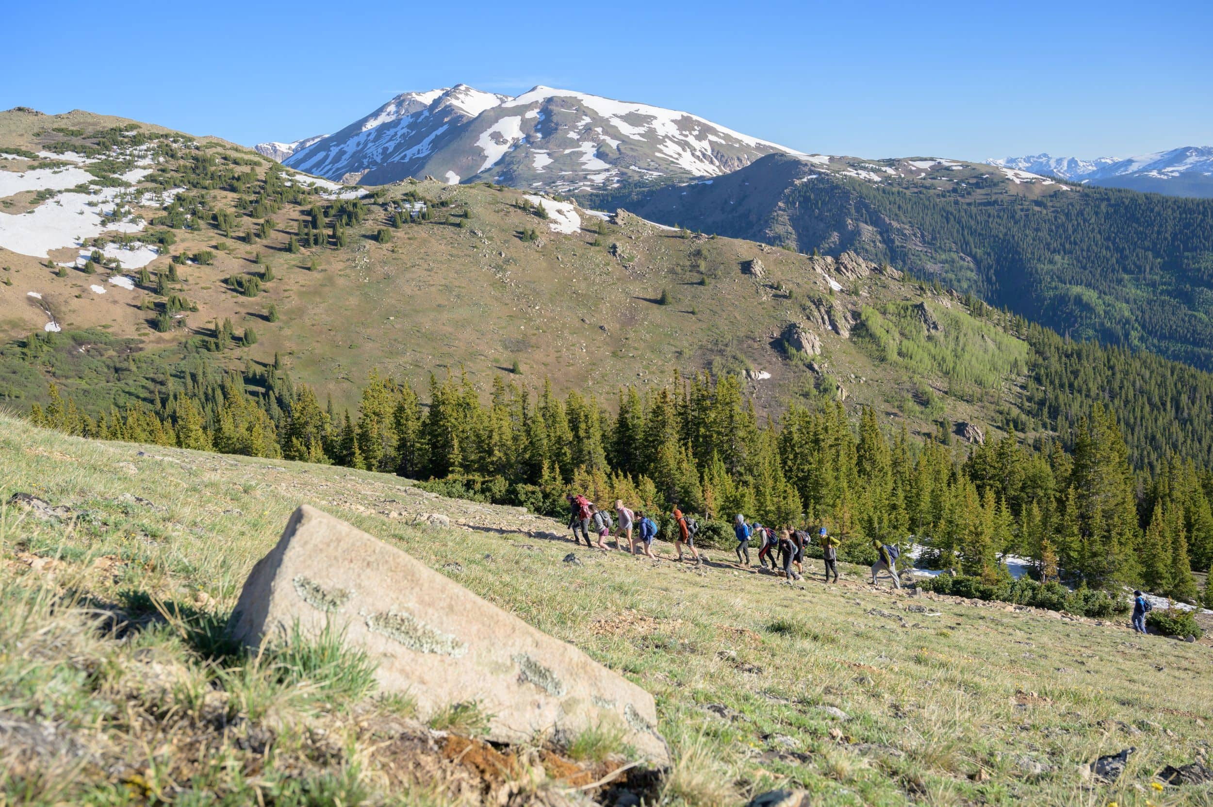 Beautiful mountain view for the campers hiking on this teen summer adventure camp