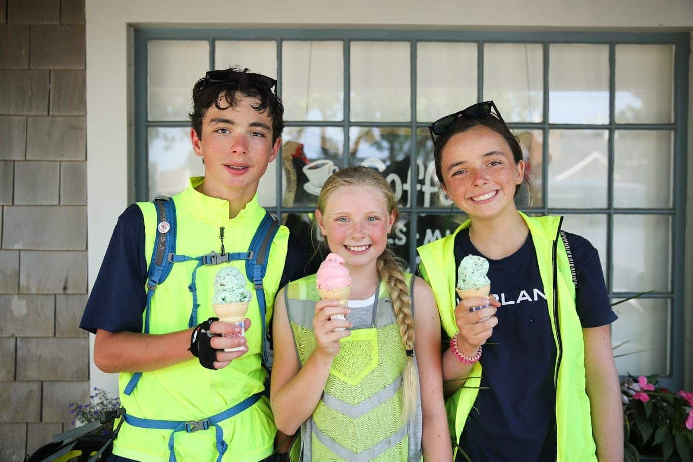 Campers take a pit stop for ice cream on their bike trip this summer
