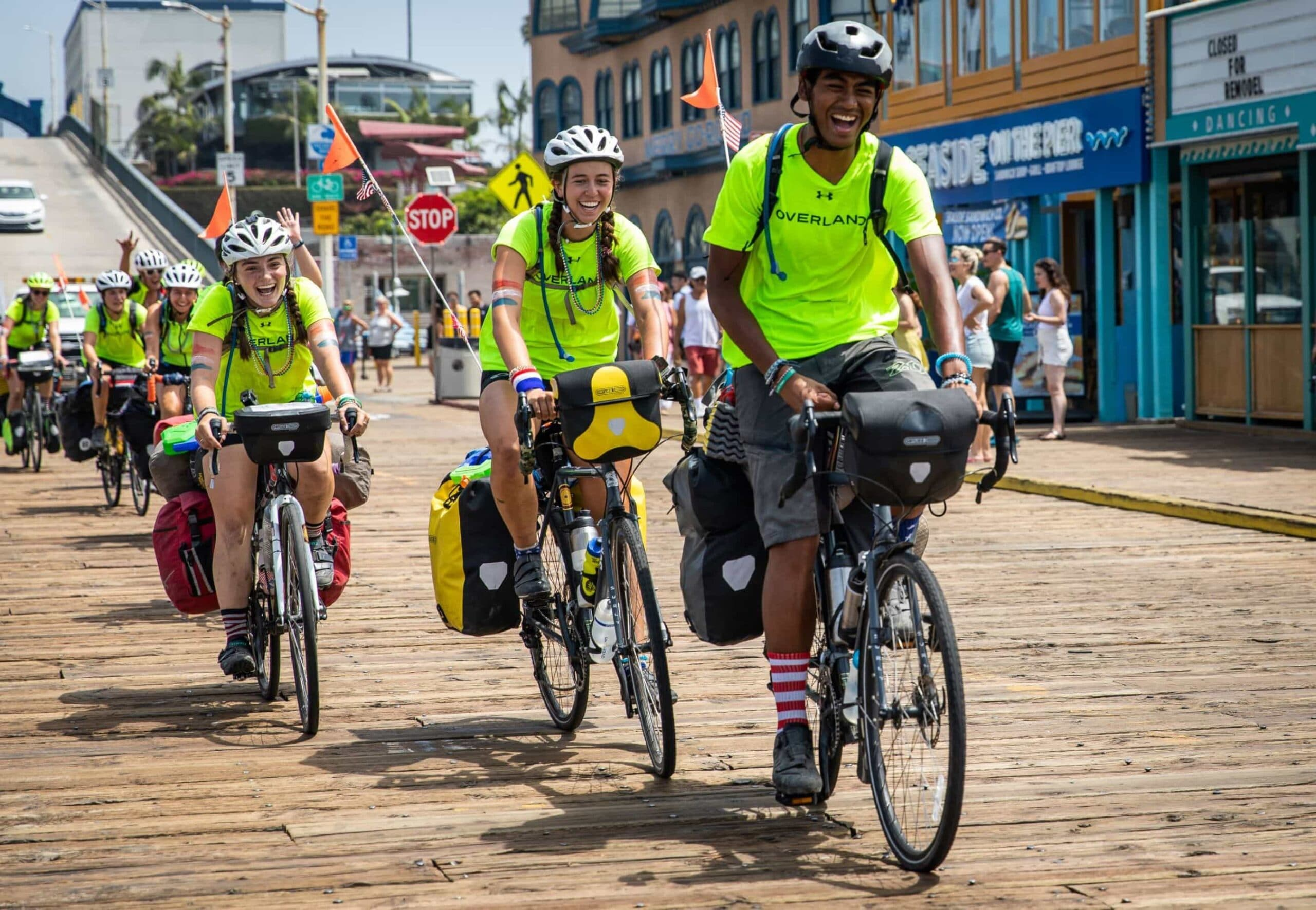 Smiles galore when a teen summer biking trip stops in a town for lunch