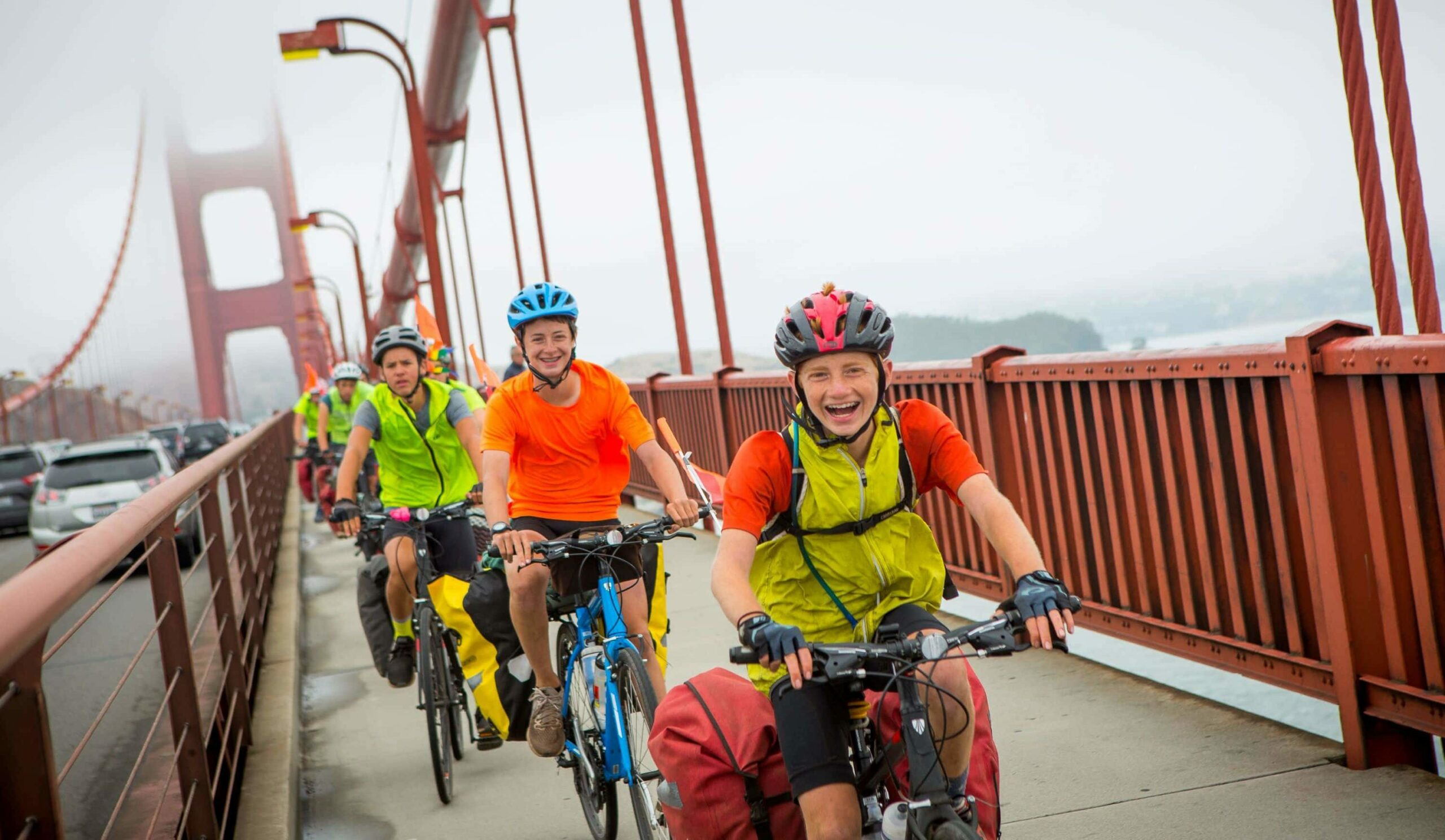 Cycling across the golden gate bridge on a teen summer biking trip