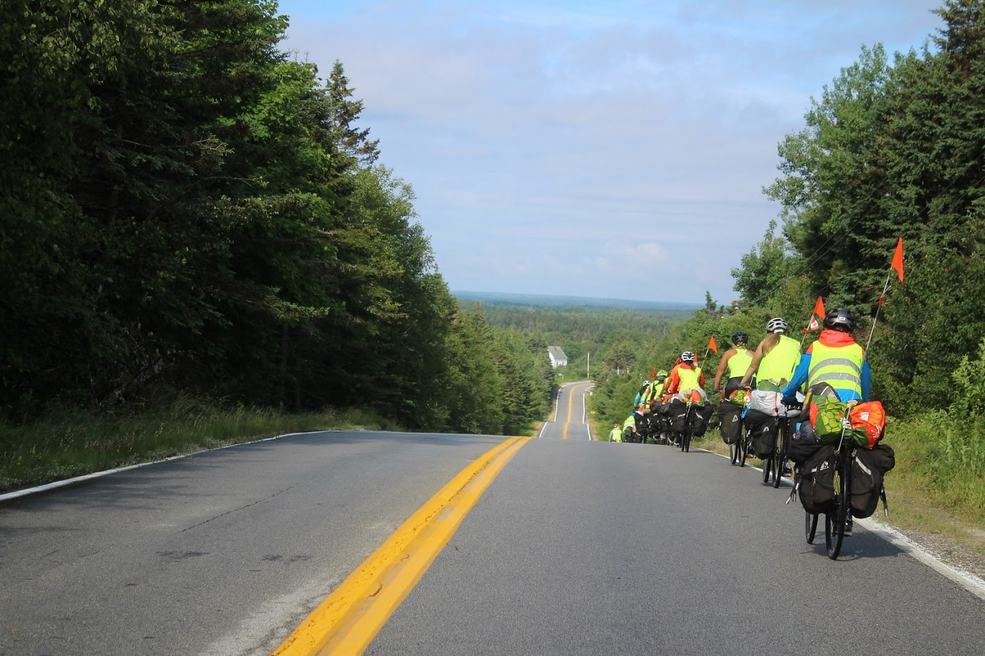 Rolling down the road on a teen summer biking trip in Nova Scotia