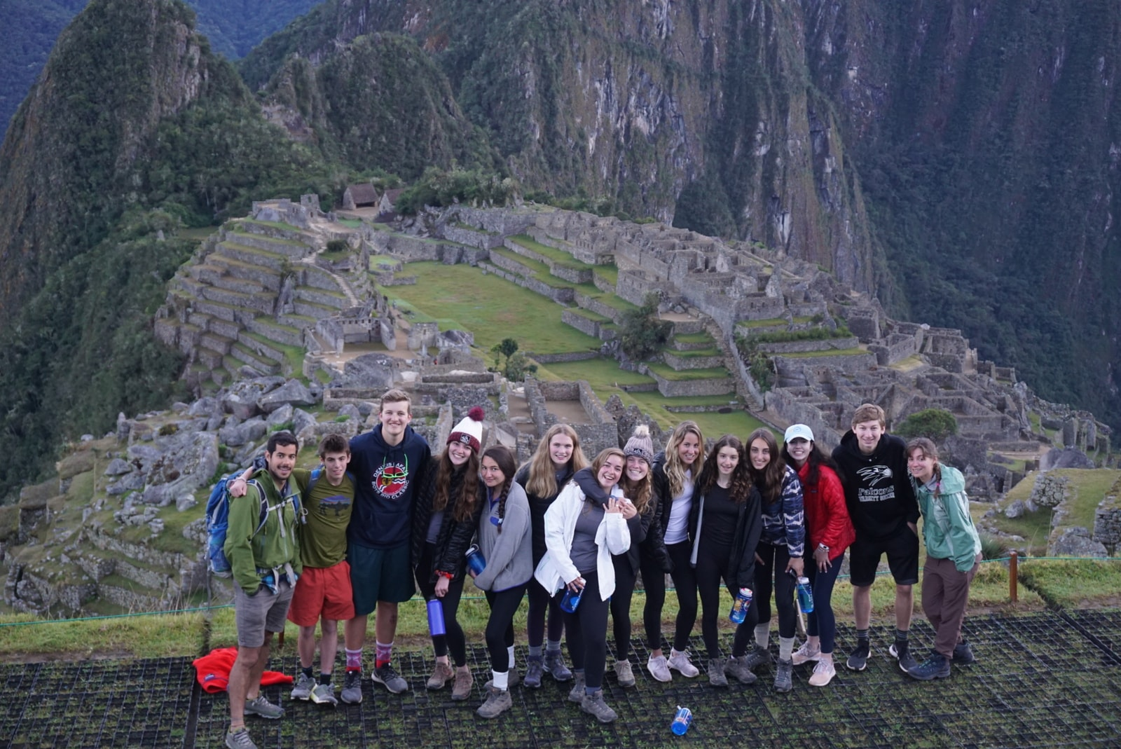 Teenagers snap a group photo this Summer while hiking around Machu Pichu