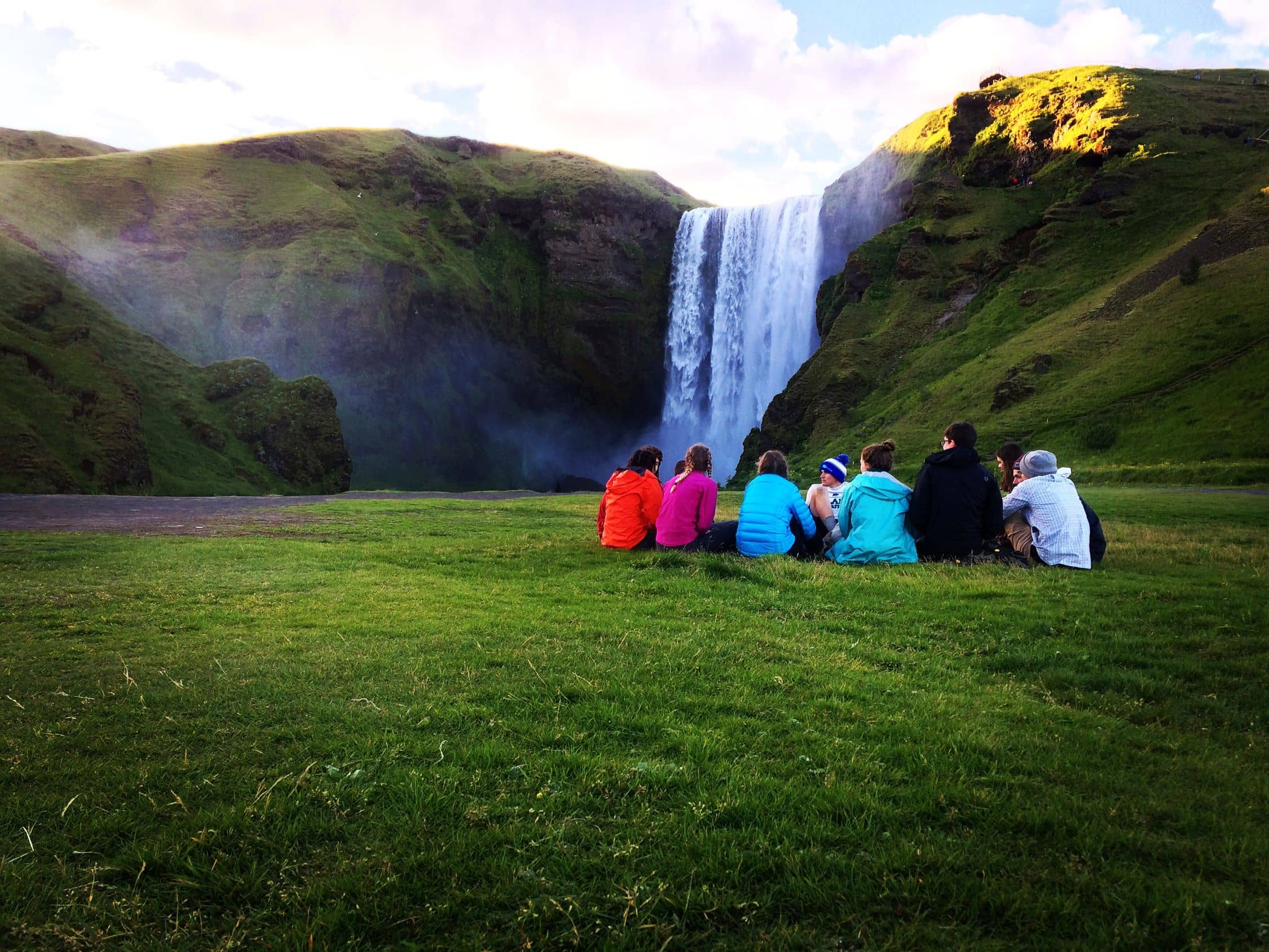Campers reflect upon a day well spent hiking through the Icelandic wilderness on an adventure program this summer