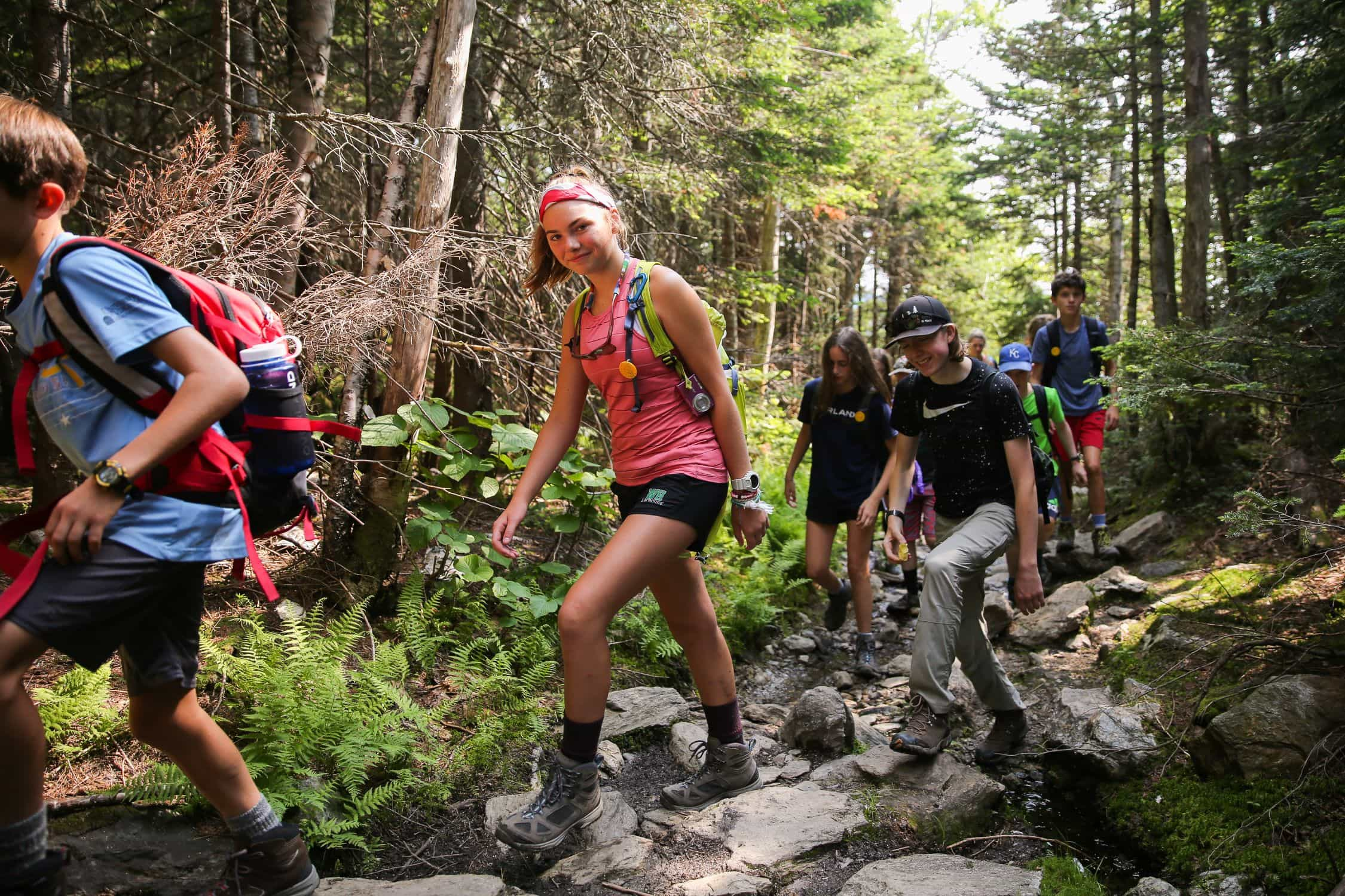 This teen summer adventure program traversing some Rocky terrain in New England