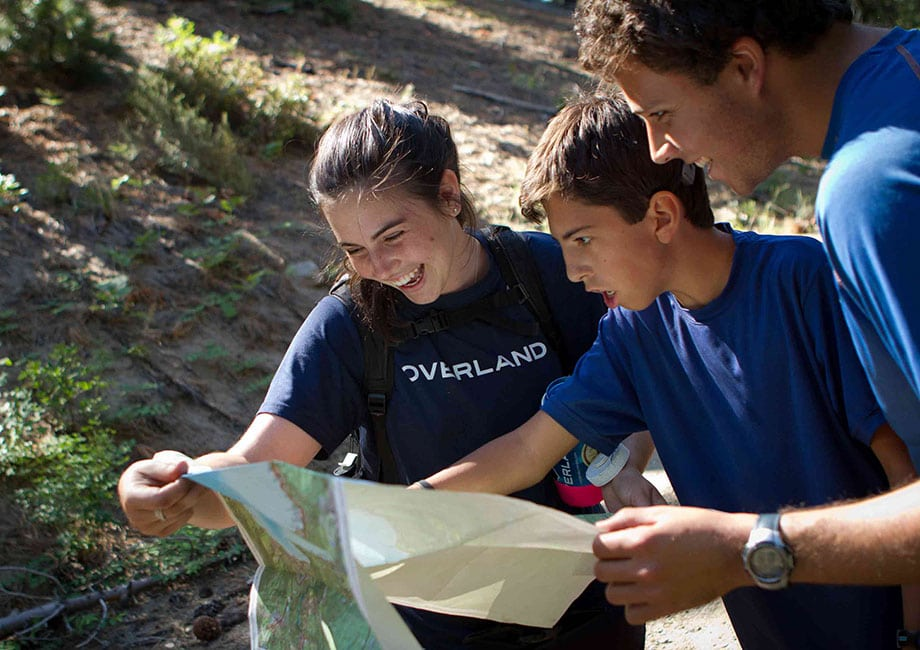 Teens learn to read a hiking map while on a Summer Adventure with Overland