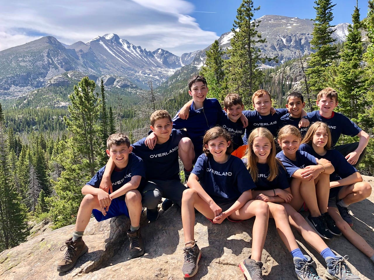 Group photo of a teen adventure program in the Rocky Mountains