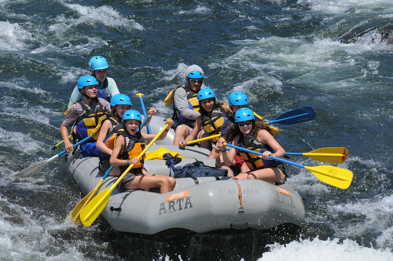 White water rafting on a teen summer adventure camp