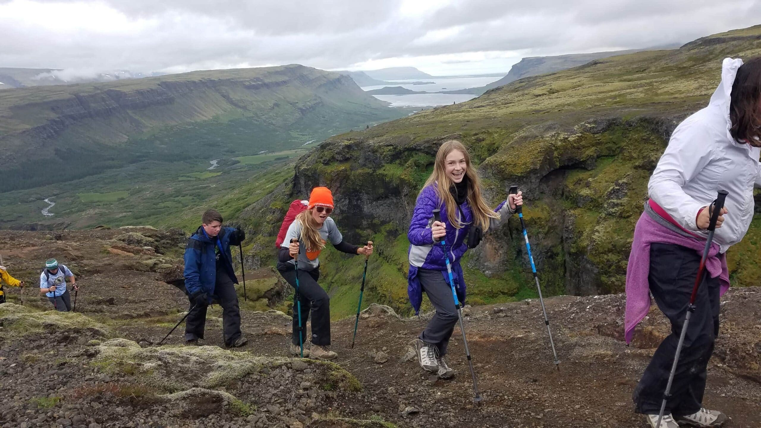 Cloudy and cool weather during a day hike on this teen adventure program
