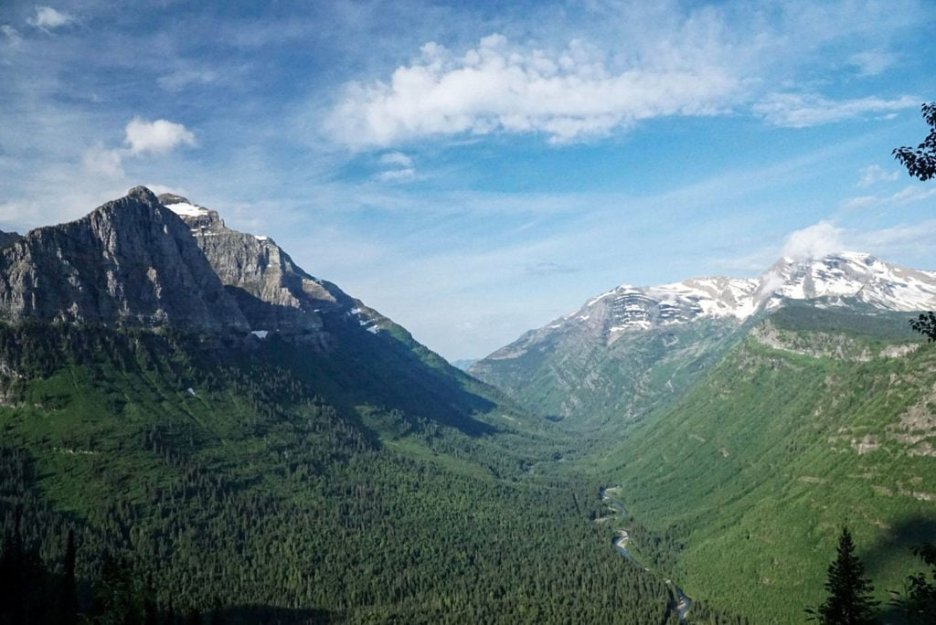 View of the mountains and a valley of the Canadian Rockies with a river