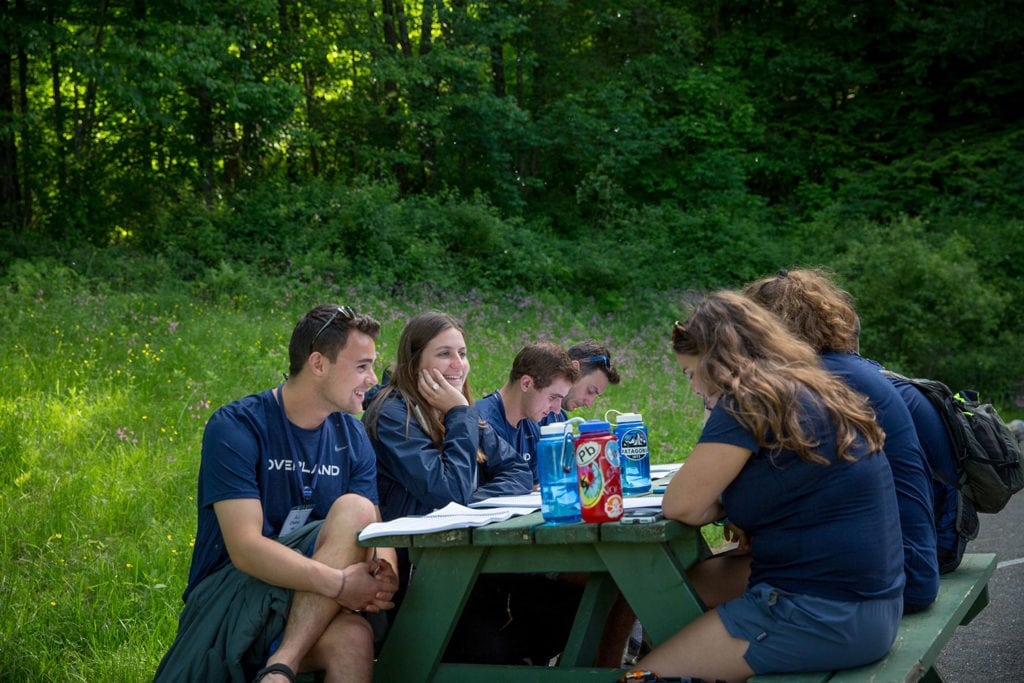 A group of leaders reading and discussing their work while sitting a picnic table in a field during leader training.