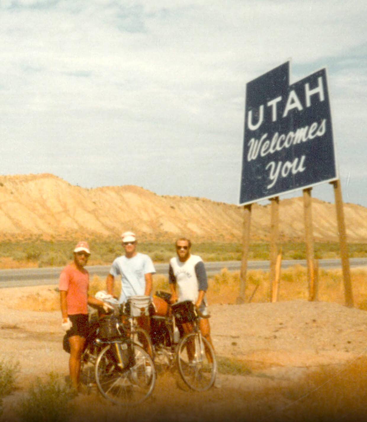 Overland's founder Tom Costley on a summer bike trip in 1982