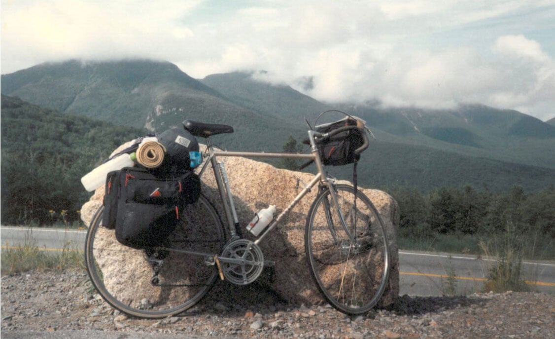 bike leaning on rock