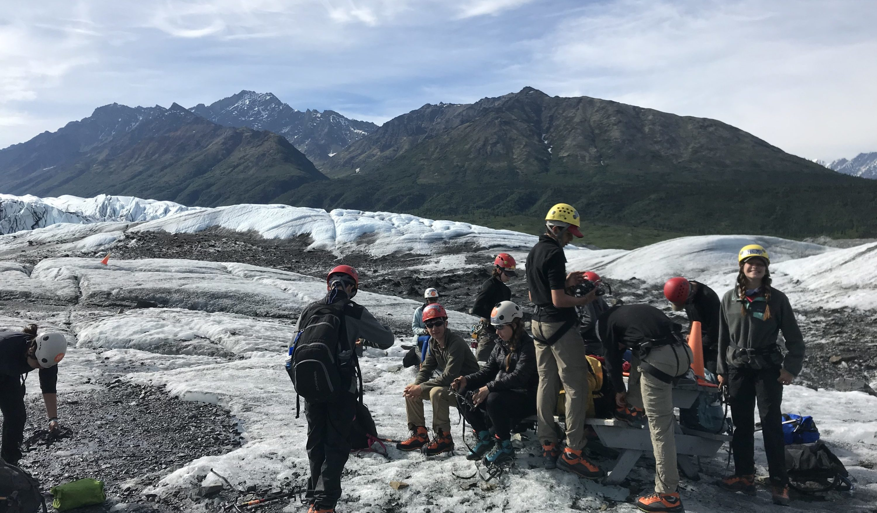 An Overland group ice climbs in Alaska