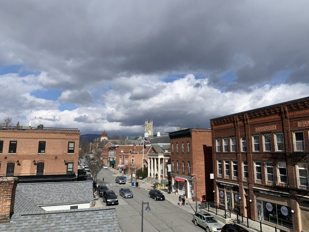 View of a street and clouds above the Berkshires