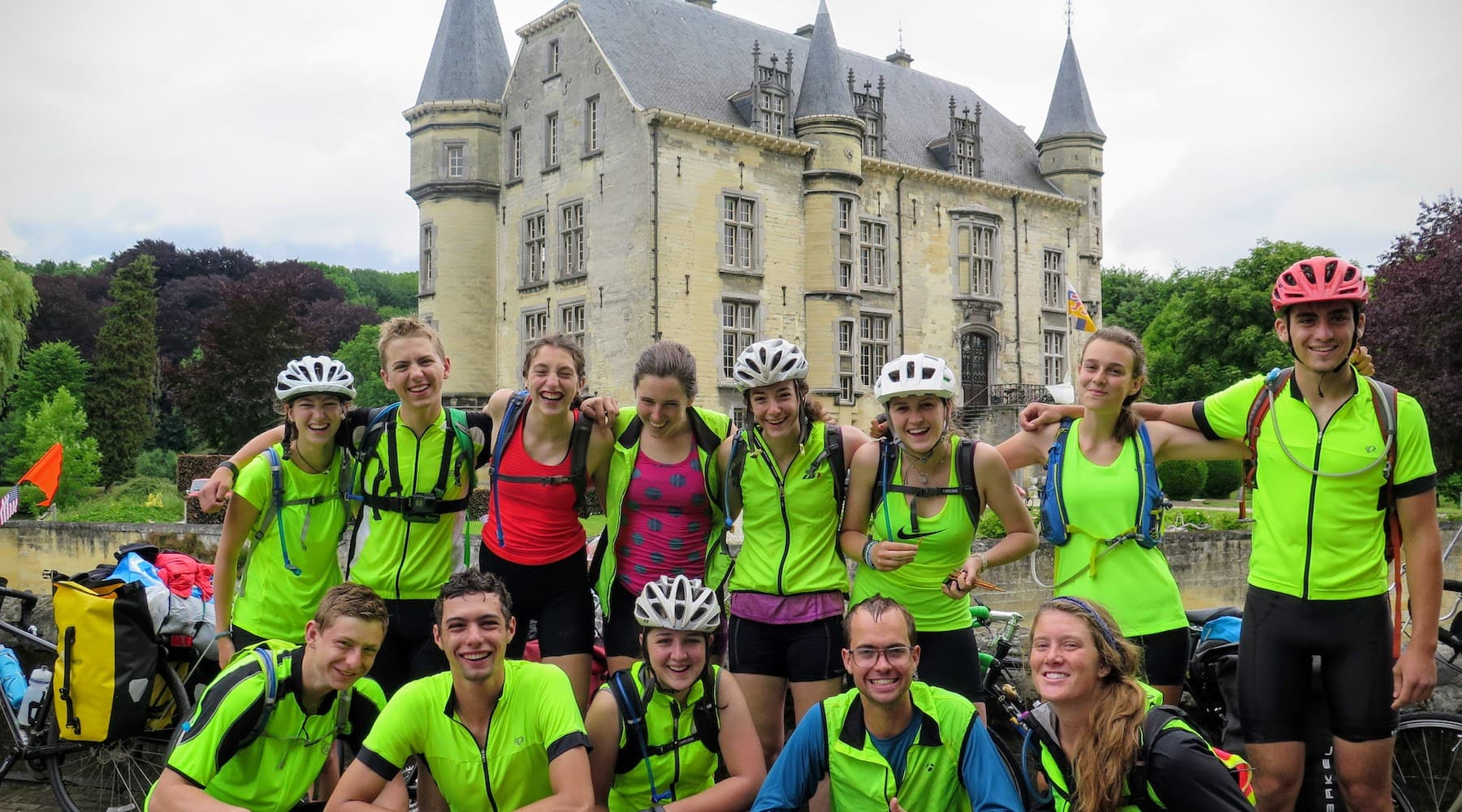 A group of teens on a summer biking trip headed into the Alps